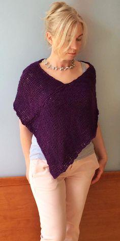 Knit alpaca poncho, Hand knitted poncho, Purple poncho