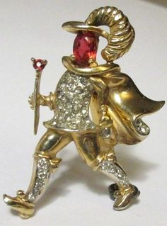 Rare Vintage Rhinestone Figural Brooch Pin Musketeer Man 1930's 40's AMAZING #unknown