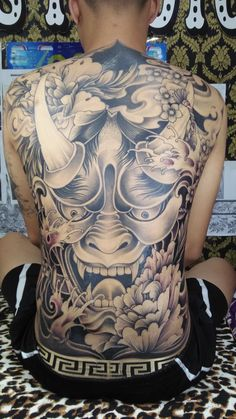 Back Piece Tattoo Men, Back Tattoos For Guys, Full Back Tattoos, Japanese Back Tattoo, Japanese Tattoo Designs, Japanese Sleeve Tattoos, Skull Sleeve Tattoos, Body Art Tattoos, Head Tattoos