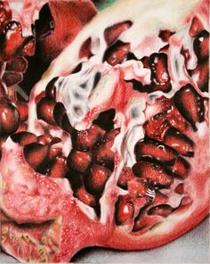 Coloured pencil pomegranate drawing by Sucha Chantaprasopsuk of Reavis High School- AP Art Ap Drawing, Still Life Drawing, Still Life Art, Pomegranate Drawing, Pomegranate Art, Juan Sanchez Cotan, Art Doodle, Natural Form Art, Fruits Drawing