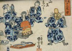 <外道十二支 申 山王まつり : GEDO JUNI-SHI SARU SANNO MATSURI> MONKEY SIGN, SANNO FESTIVAL UNIYOSHI UTAGAWA 1798-1861 Last of Edo Period