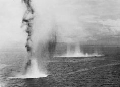 Bombs hitting the water off the island of Guadalcanal, during the Battle of Savo Island-The Battle of Savo Island and colloquially among Allied Guadalcanal veterans as The Battle of the Five Sitting Ducks, was a naval battle of the Pacific Campaign of World War II, between the Imperial Japanese Navy and Allied naval forces. The battle took place on August 8–9, 1942 and was the first major naval engagement of the Guadalcanal campaign,