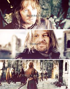 """Boromir and Faramir: """"Remember today, little brother."""" And Faramir would remember it, because it was the last day he saw his brother. --description written by Frodo the Second"""