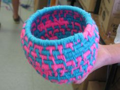 "5th grade coiled basket weaving; approx. 7"" tall; lesson by art teacher: Susan Joe"