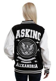 Asking Alexandria - Eagle Black/White - College Jacket I WANT THIS!!!!!!!!!!!!!