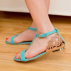 Summer Flat Heel Casual Shoes Sexy T Straps Gladiator Flats