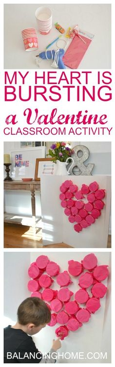 MY-HEART-IS-BURSTING-A-VALENTINE craft - it could be like an advent calendar for Valentine's day with small gifts & candy