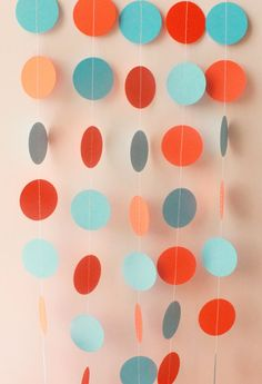 Aqua Blue & Orange Circle Paper Garland 10ft by MailboxHappiness