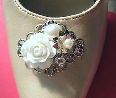 super cute shoe clip!!  Store Wide Sale Shoe Clips Flower shoe Clips  by MissJoansBridal, $29.50