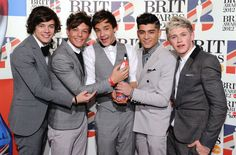 One Direction at the Brit Awards 2012.
