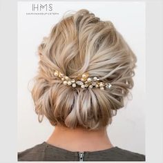 Wedding Hairstyles For Medium Hair, Up Dos For Medium Hair, Up Hairstyles, Medium Hair Styles, Curly Hair Styles, Bridesmaids Hairstyles, Hairstyle Ideas, Amazing Hairstyles, Short Wedding Hair Updo