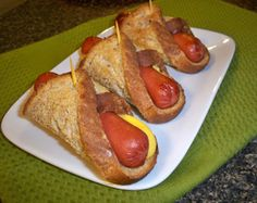 Easy Hot Dog - all you need is a hot dog, slice of buttered bread and a slice of cheese.Hold together with toothpick. 350 degree oven for approx.15 min until golden brown