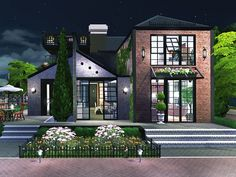 Abigail is a cosy house for a small sim family. Found in TSR Category 'Sims 4 Residential Lots' Sims 4 House Design, 2 Storey House Design, Sims Building, Building A House, Sims 4 City Living, Cosy House, Sims House Plans, Casas The Sims 4, Sims 4 Build