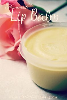 Recipe for Homemade Lip Balm. So easy to make with only a few ingredients and frugal! Much cheaper than the store version, less than $1 per tube!