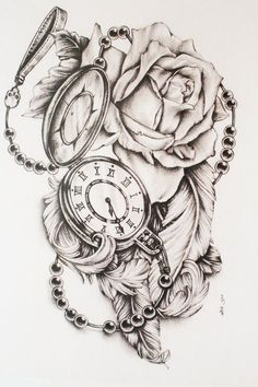 Pocket watch with roses - tattoos - # roses # pocket watch # tattoos - Feather Tattoos, Rose Tattoos, Flower Tattoos, New Tattoos, Body Art Tattoos, Clock Tattoos, Tatoos, Portrait Tattoos, Rose Sleeve Tattoos