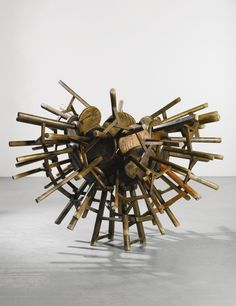 Ai Weiwei B. 1957 GRAPES 32 stools from the Qing Dynasty  191 by 184 by 151 cm. Executed in 2010-11.