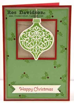 MMM #17 with step by step instructions to make 4 cards (including both cm and inches measurements) can be found here:  http://rosdavidson.typepad.com/ros_davidson_live_life_an/2013/08/july-mmm-pdf.html #makingmerrymonday #christmascards #stampinup #ornamentkeepsakes