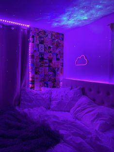 Neon Bedroom, Cute Bedroom Decor, Room Design Bedroom, Teen Room Decor, Room Ideas Bedroom, Bedroom Inspo, Light Bedroom, Bedroom Small, Chill Room