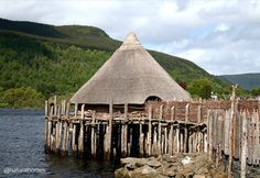 This is the Crannog Centre in Fearnan, Scotland, an early Iron Age reconstruction based on excavations of a 2,500 year old crannog. A crannog is a platform built in water supporting a settlement. The house was built on timbers that supported woven hazel walls and the roof. More at www.naturalhomes.org/timeline/crannog.htm