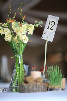 Organic chemistry wedding table (notice the beakers?!) setting using DIY and foraged items.