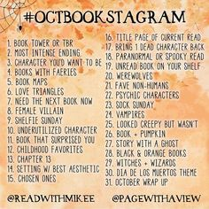 Here's the October bookstagram challenge I'm hosting with @readwithmikee! It's been so much fun to see the thousands of posts so far in #septbookstagram! Thank you to everyone who's joined - your pictures are gorgeous and it's so much fun to see all of the bookish enthusiasm   You don't need to post everyday for this and you can jump in whenever you feel like it! Just use #octbookstagram so we can find your pics (we both post shoutouts to 9 different people each Sunday)