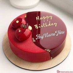Happy Birthday Cake Writing, Birthday Present Cake, Half Birthday Cakes, Happy Birthday Cake Photo, Elegant Birthday Cakes, Pretty Birthday Cakes, Birthday Cake Designs, Happy Birthday Sam, Red Velvet Birthday Cake