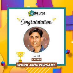 Congratulations Jai Devrath on your work anniversary! . We appreciate your energy, your kindness, and all the work you do. Continue to climb new heights with your hard work, zeal and commitment.  . Wishing you a happy work anniversary. . . #WorkAnniversary #Congratulations #CoworkerAppreciation #Congrats #webguruz #India 🇮🇳