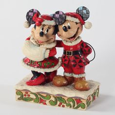 Holiday Duet-Santa Mickey And Minnie Mouse Figurine