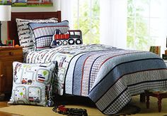 Toddler Bedding Cotton 2pc Quilt Set Reversible Plaid Rail Road Wagons Trains Boys Kids Bedding Quilted Bedspread Charles Street http://www.amazon.com/dp/B00TYZ014M/ref=cm_sw_r_pi_dp_zjY-ub0F47SHV