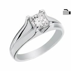 Engagement Ring 1 Carat (ctw) in 14K Pure White Gold Princess Cut Diamond Solitaire Ring (Certified)