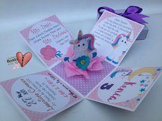 I dunno, but I sure like it! 3d Birthday Card, Little Pony Birthday Party, Unicorn Birthday Invitations, Unicorn Birthday Parties, Unicorn Party, Aaliyah Birthday, Box Invitations, Diy Crafts For Girls, Unicorn Crafts