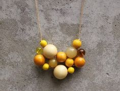 Yellow bib necklace bead necklace statement by LeafFeather on Etsy, $39.00