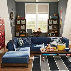 Upgrade your playroom and create a cool teen lounge room with furniture and decor from Pottery Barn Teen. Find inspiration and ideas for your teen's favorite hangout space. Mid Century Modern Living Room, Living Room Modern, Living Room Decor, Living Rooms, Dorm Room Storage, Attic Storage, Attic Renovation, Attic Remodel, Teen Lounge Rooms