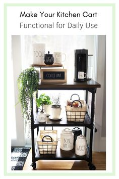 Kitchen carts shouldn't be just for holding glasses and wine. We use our cart for daily use. The top is a coffee bar, I also keep my herbs and other veggies on the cart. I use bins, containers and baskets to hold the items and at the same time decorate it with a farmstyle look. #RaeDunn #Farmhouse #WireBaskets #Organizing #Kitchen #HomeOrganization