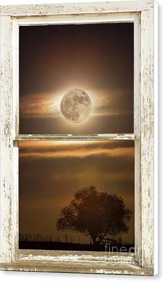 #Moon Canvas Print featuring the photograph #Supermoon Country #Tree #Rustic #Window View by James BO Insogna - #insognaGallery