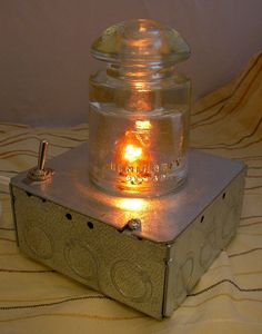 Antique Clear Glass Light Line Insulator Lamp Shade by Whatsrname, $50.00