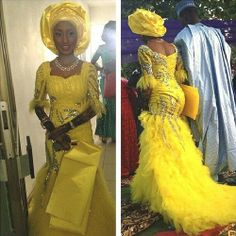 Yellow traditional wedding gown worn by a Nigerian bride