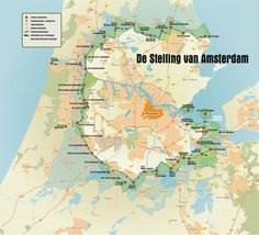 Stelling van Amsterdam was a ring of batteries, fortifications and inundation areas around Amsterdam, built between Many forts can still be visited today. Holland Map, Amsterdam Map, Dutch Golden Age, Chinese Architecture, Old Maps, Fortification, European History, Historical Maps, Netherlands