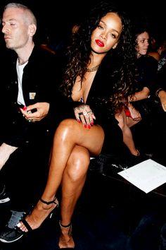 Rihanna at the New york fashion week Riri Rihanna navy  Altuzarra High fashion Style