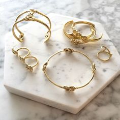 New jewels: Odette Triple Lovers Knot ring, Stacked Lovers Knot cuff, Compass Knot bangle, Siren ring, Mariners cuff, Lovers Knot cuff.
