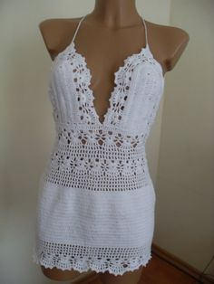 by Lalerosso on Etsy Sexy white lace dress hand crocheted. by Lalerosso on Etsy Crochet Skirt Pattern, Crochet Bra, Crochet Skirts, Crochet Cardigan, Crochet Clothes, Hand Crochet, Knit Cowl, Crochet Granny, Crochet Fashion