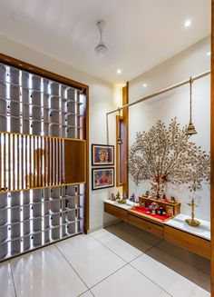 Residence Accentuating Spaces in Frames and Cubes Home Room Design, Temple Design For Home, Small House Design, Room Door Design, House Front Design, Home Interior Design, House Interior Decor, Pooja Room Door Design, Living Room Designs