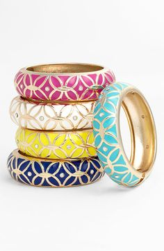 """Hot new trend for Spring and Summer. Wear all your bracelets for colorful statement. Sequin """"Brights"""" Enamel Bangles."""