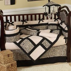 Print of Tiger Bedroom on Wooden Mini Crib with Ribbons and Hanging Accessories