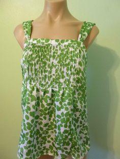 George by Mark Eisen sz M 8 10 Blouse Pintuck Pleats Bodice Green Leaf print Top
