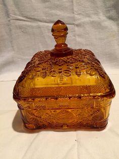 Vintage Amber Glass Tiara Honey Bee Box w/Lid by KandMVintageGlass