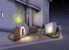 角地をおしゃれに彩る外構 ご提案パース 夜 Gate Post, Exterior, Mansions, Architecture, House Styles, Home Decor, Gardening, Ideas, Mansion Houses