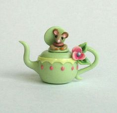 Miniature Green Mouse in Teapot Teapot