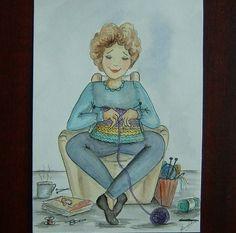 Knitting cartoon original art painting (ref 783) £5.00