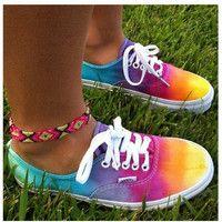 Rainbow Tie Dye Vans - Crafts with Haley Cute Vans, Cute Shoes, Me Too Shoes, Studded Vans, Rainbow Vans, Rainbow Colors, Rainbow Things, Rainbow Stuff, Rainbow Sneakers
